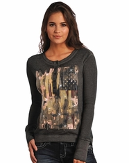 Rock & Roll Cowgirl Women's Long Sleeve Guitar Flag Print Henley Top - Grey