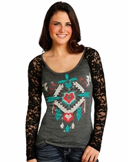 Rock & Roll Cowgirl Women's Long Sleeve Lace Aztec Print Top - Grey