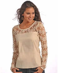 Rock & Roll Cowgirl Women's Long Sleeve Lace Top - Natural