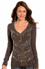 Rock & Roll Cowgirl Women's Long Sleeve Leopard Burnout Top - Brown (Closeout)