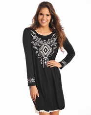 Rock & Roll Cowgirl Women's Long Sleeve Print Dress-Black (Closeout)