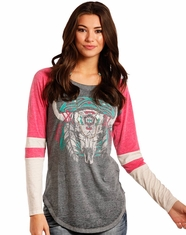 Rock & Roll Cowgirl Women's Long Sleeve Print Top - Pink