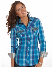 Rock & Roll Cowgirl Women's Long Sleeve Sequin Snap Shirt - Blue (Closeout)