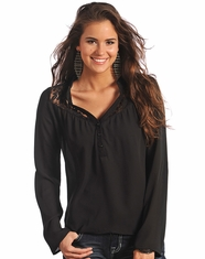 Rock & Roll Cowgirl Women's Long Sleeve Solid Button Top-Black (Closeout)