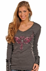 Rock & Roll Cowgirl Women's Long Sleeve Winged Cross Top - Grey