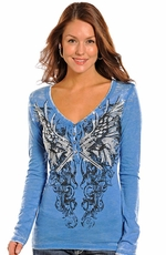 Rock & Roll Cowgirl Women's Long Sleeve Winged Guns Top - Blue