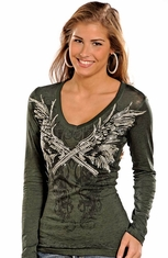 Rock & Roll Cowgirl Women's Long Sleeve Winged Guns Top - Green (Closeout)