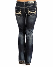 Rock & Roll Cowgirl Women's Low Rise Boot Cut Jeans - Dark Vintage