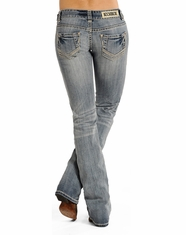 Rock & Roll Cowgirl Women's Low Rise Boot Cut Jeans - Light Wash