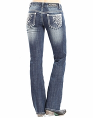 Rock & Roll Cowgirl Women's Low Rise Boot Cut Jeans - Medium Vintage