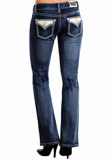 Rock & Roll Cowgirl Women's Low Rise Boot Cut Jeans with Sequined Leather Applique (Closeout)