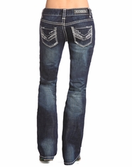 Rock & Roll Cowgirl Women's Low Rise Bootcut Jean-Dark Vintage