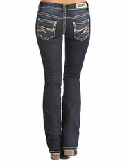 Rock & Roll Cowgirl Women's Low Rise Rival Slim Fit Bootcut Jean - Dark Vintage