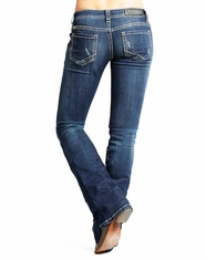 Rock & Roll Cowgirl Women's Low Rise Rival Slim Fit Bootcut Jean-Dark Vintage