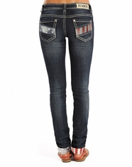 Rock & Roll Cowgirl Women's Low Rise Skinny Jeans - Dark Wash