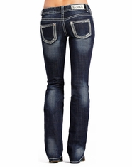 Rock & Roll Cowgirl Women's Low Rise Slim Fit Bootcut Jean-Dark Vintage