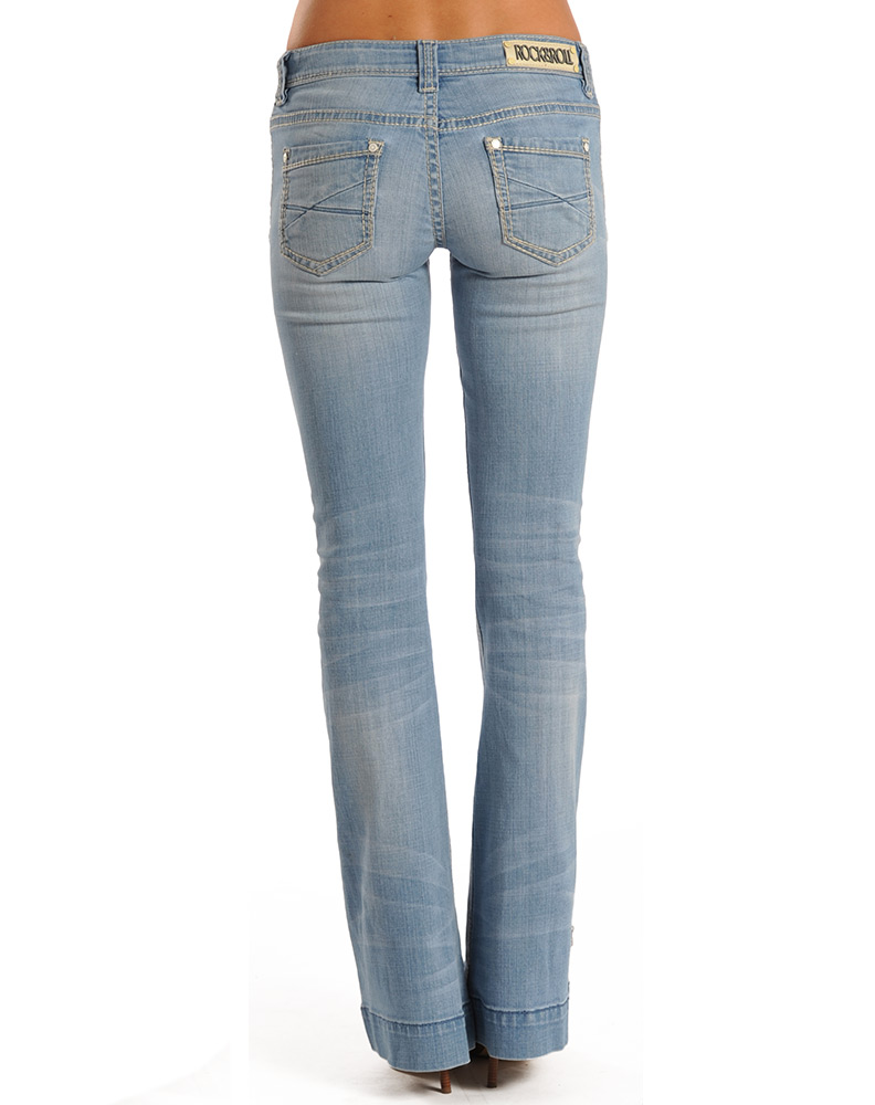 Rock & Roll Cowgirl Women's Low Rise Trouser Jean - Light Wash (Closeout)