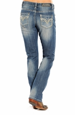 Rock & Roll Cowgirl Women's Mid Rise Boot Cut Boyfriend Fit Jeans - Light Vintage Wash (Closeout)