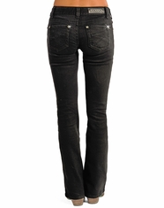 Rock & Roll Cowgirl Women's Mid Rise Boot Cut Jeans - Black (Closeout)