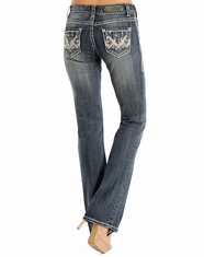 Rock & Roll Cowgirl Women's Mid Rise Boot Cut Jeans - Dark Vintage
