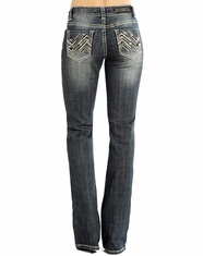 Rock & Roll Cowgirl Women's Mid Rise Boot Cut Jeans - Dark Vintage (Closeout)