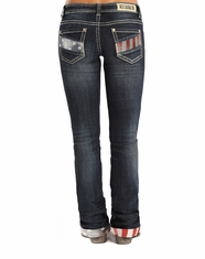 Rock & Roll Cowgirl Women's Mid Rise Boyfriend Fit Boot Cut Jeans - Dark Wash (Closeout)