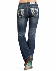 Rock & Roll Cowgirl Women's Mid Rise Slim Fit Bootcut Jean-Dark Vintage