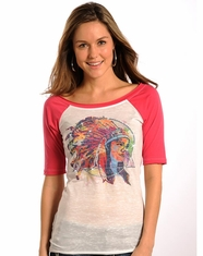 Rock & Roll Cowgirl Women's Native American Print Raglan Top - Hot Pink