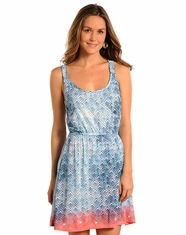 Rock & Roll Cowgirl Women's Print Dress - Blue