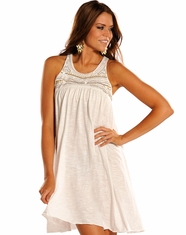 Rock & Roll Cowgirl Women's Racer Back Knit Dress - Eggshell