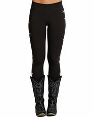 Rock & Roll Cowgirl Women's Rhinestone Leggings - Black (Closeout)