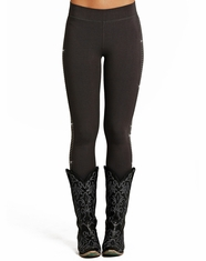 Rock & Roll Cowgirl Women's Rhinestone Leggings - Grey