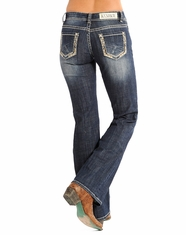 Rock & Roll Cowgirl Women's Riding Fit Low Rise Bootcut Jean-Dark Vintage