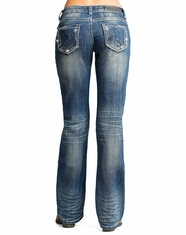 Rock & Roll Cowgirl Women's Riding Fit Low Rise Slim Fit Bootcut Jean - Medium Vintage