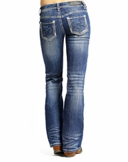Rock & Roll Cowgirl Women's Riding Fit Low Rise Slim Fit Bootcut Jean-Medium Vintage