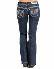 Rock & Roll Cowgirl Women's Riding Low Rise Regular Fit Boot Cut Jean - Dark Vintage (Closeout)