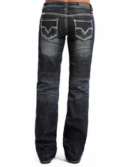 Rock & Roll Cowgirl Women's Riding Low Rise Regular Fit Boot Cut Jeans - Dark Vintage