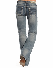 Rock & Roll Cowgirl Women's Riding Low Rise Regular Fit Bootcut Jean - Light Vintage