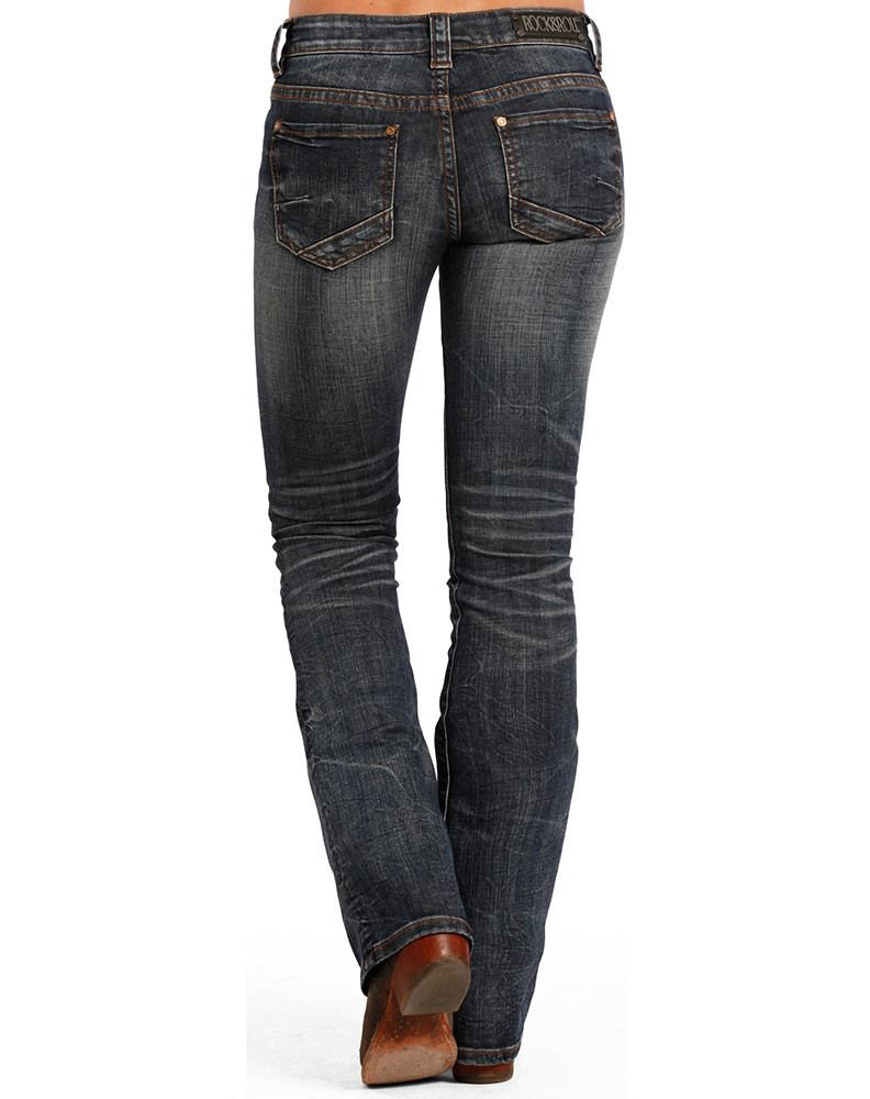 Rock & Roll Cowgirl Women's Rival Low Rise Boot Cut Jeans - Dark Vintage