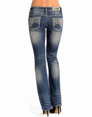 Rock & Roll Cowgirl Women's Rival Low Rise Boot Cut Jeans - Light Vintage