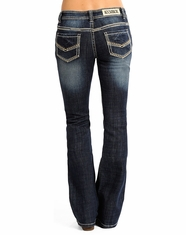 Rock & Roll Cowgirl Women's Rival Low Rise Boot Cut Jeans - Medium Vintage