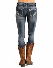 Rock & Roll Cowgirl Women's Rival Low Rise Skinny Jeans - Dark Vintage