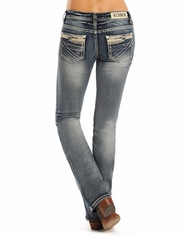 Rock & Roll Cowgirl Women's Rival Low Rise Slim Boot Cut Jeans - Light Vintage