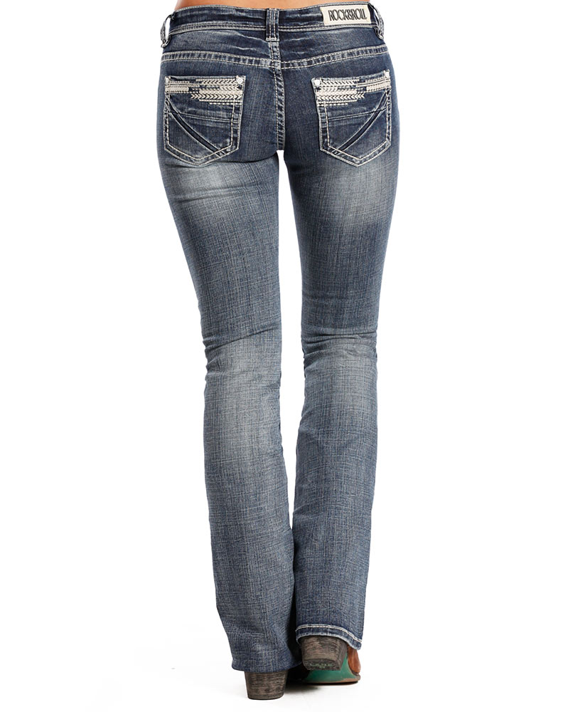 Rock & Roll Cowgirl Women's Rival Low Rise Slim Fit Boot Cut Jeans - Light Vintage