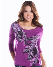 Rock & Roll Cowgirl Women's Scoop Neck Dolman Top - Orchid (Closeout)