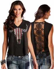 Rock & Roll Cowgirl Women's Short Sleeve Americana Graphic Print Top - Black