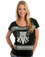 Rock & Roll Cowgirl Women's Short Sleeve Boxy Dreamcatcher Top - Black (Closeout)