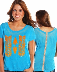 Rock & Roll Cowgirl Women's Short Sleeve Burnout Boxy Top - Bright Turquoise