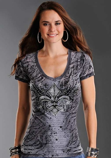 Rock & Roll Cowgirl Women's Short Sleeve Burnout Tee Shirt with Fleur de Lis - Charcoal (Closeout)
