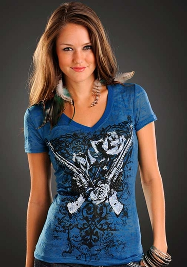 Rock & Roll Cowgirl Women's Short Sleeve Burnout Tee Shirt with Roses and Pistols - Royal